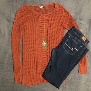 PLUS SIZE Rust Orange Cable Knit Sweater